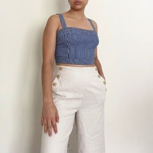 Square neck crop top with pinstripes